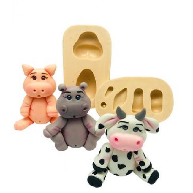Molde de Silicone Hipopotamo, Porco e Vaca
