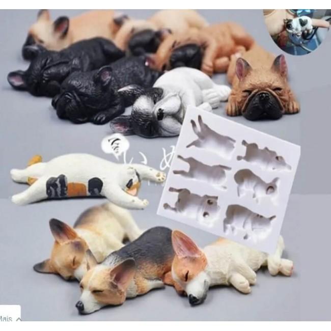 Molde de Silicone Gatos e Cachorros Deitados