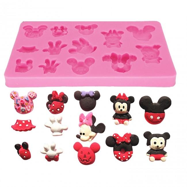 Molde de Silicone Bonequinhos Mickey e Minnie