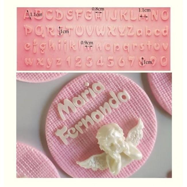Molde de Silicone de Alfabeto Maiúsculo e Minúsculo para Decorar Letras