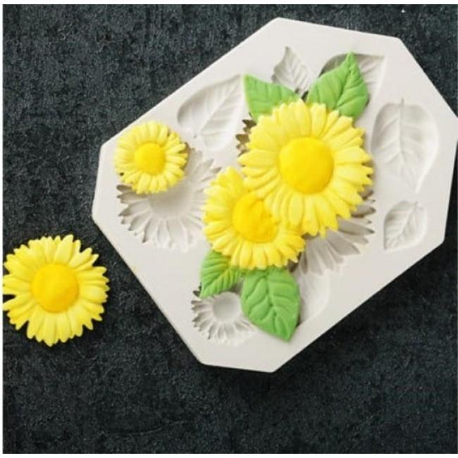 Molde de Silicone Flor de Girasol para Decorar, Margarida, Folhas