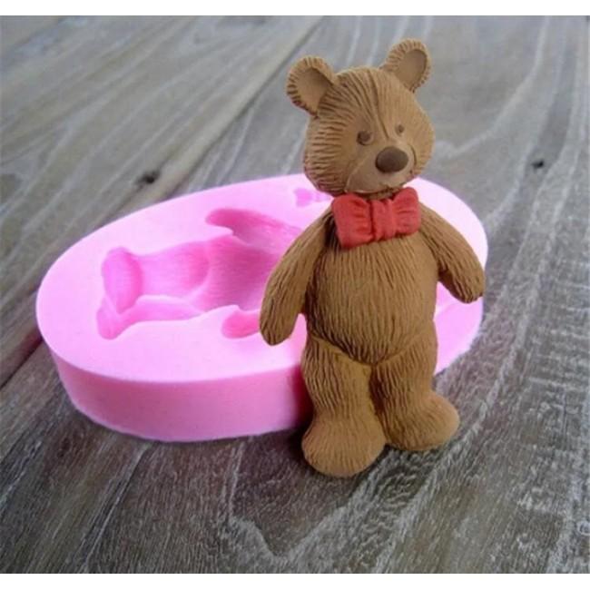 Molde de Silicone Urso com Gravata Borboleta para Decorar