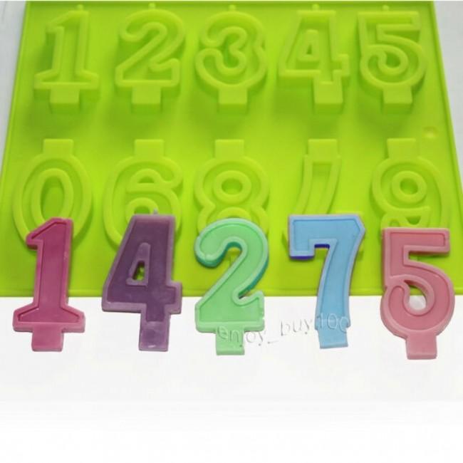 Forma de Silicone para Decorar Números, Molde de Números para Topo de Bolo
