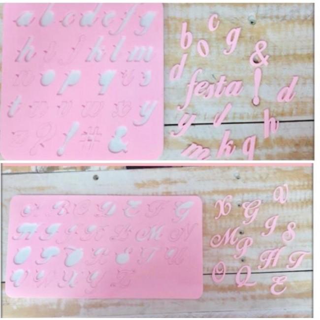 Kit 2 Marcadores Placas de Acrílico Modelo 2 para Decorar Alfabetos Maiúsculo e Minúsculo