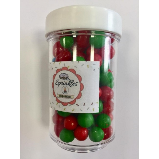 Sprinkles 50gm Cor Vemelho e Verde  para Decorar