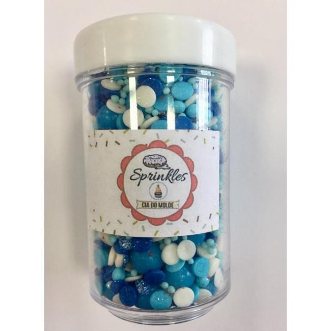 Sprinkles 50gm Cor Azul e Branco  para Decorar