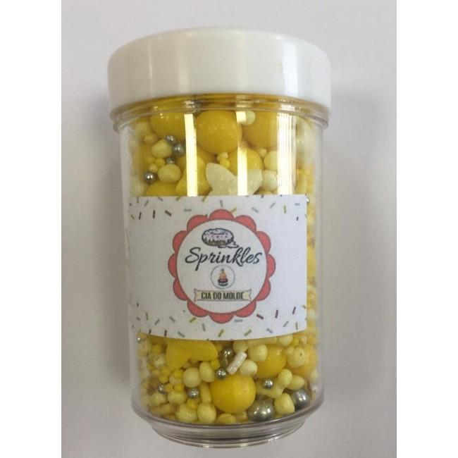Sprinkles 50gm Cor Amarelo, Prata e Branco  para Decorar