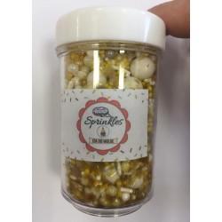 Sprinkles 50gm Cor Dourado e Branco  para Decorar
