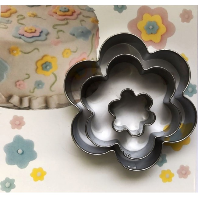 Marcador de Biscoito e Pasta Americana em Formato de Flores, Inox