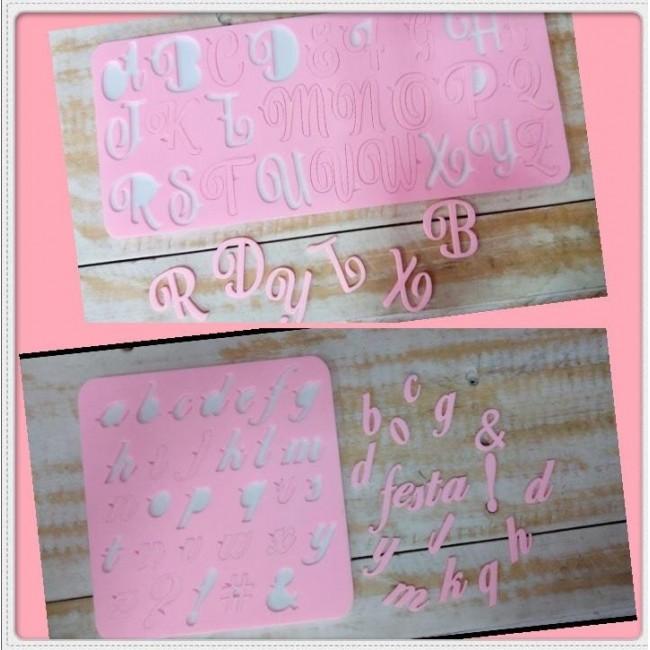 Kit Placa de Acrílico Alfabeto Maiúsculo e Minúsculo Modelo 3 para Decorar