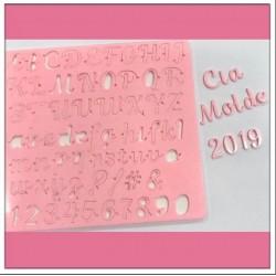 Placa de Acrilíco Letras Maiúsculas, Minúsculas, Números e Pontos