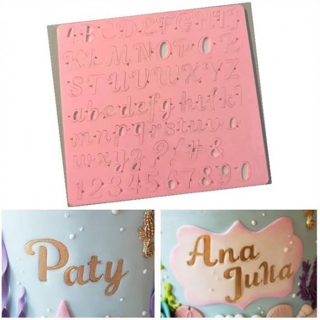 Placa de Acrilíco Letras Maiúsculas, Minúsculas, Números e Pontos Alfabeto