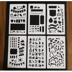 Stencil Kit Com 6 Bandeiras, Faixas, Natal, Setas