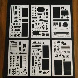 Stencil Kit Com 6 Setas, Faixas, Sol, Numeros