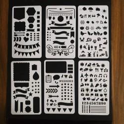 Stencil Kit com 6 Numeros, Bandeiras, estrelas, Coraçoes