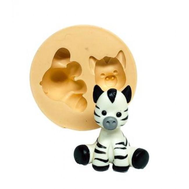 Molde De Silicone Zebra 3D Safari Animais