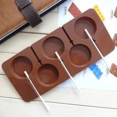 33550b1ab Forma de Silicone ( 6 uni ) de Pirulito Liso de Chocolate para Confeitar