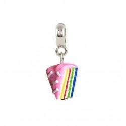 Bijuteria - Berloque Bolo Arco íris rosa