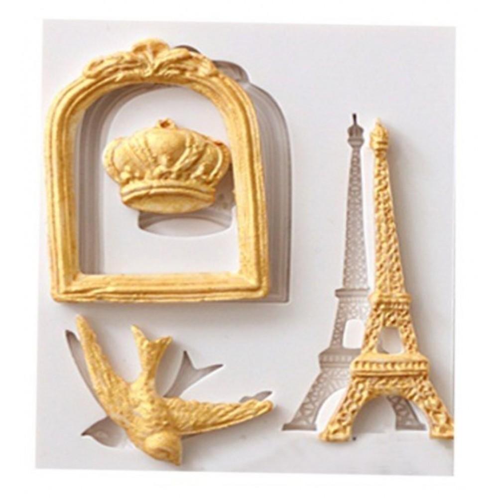Molde Silicone Torre Eiffel Coroa Passaro E Moldura Bolo Cupcake