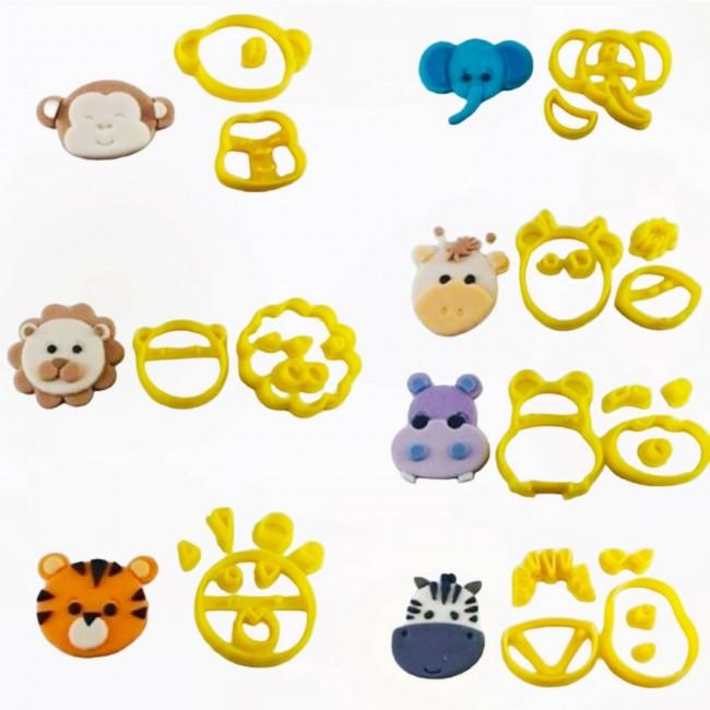 7 Kit Cortadores 3D safari para decorar pirulitos e biscoitos