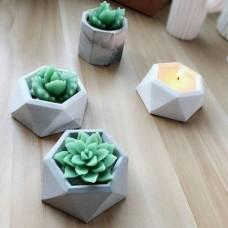Molde De Silicone Vaso De Plantas Hexagonal Para Decorar