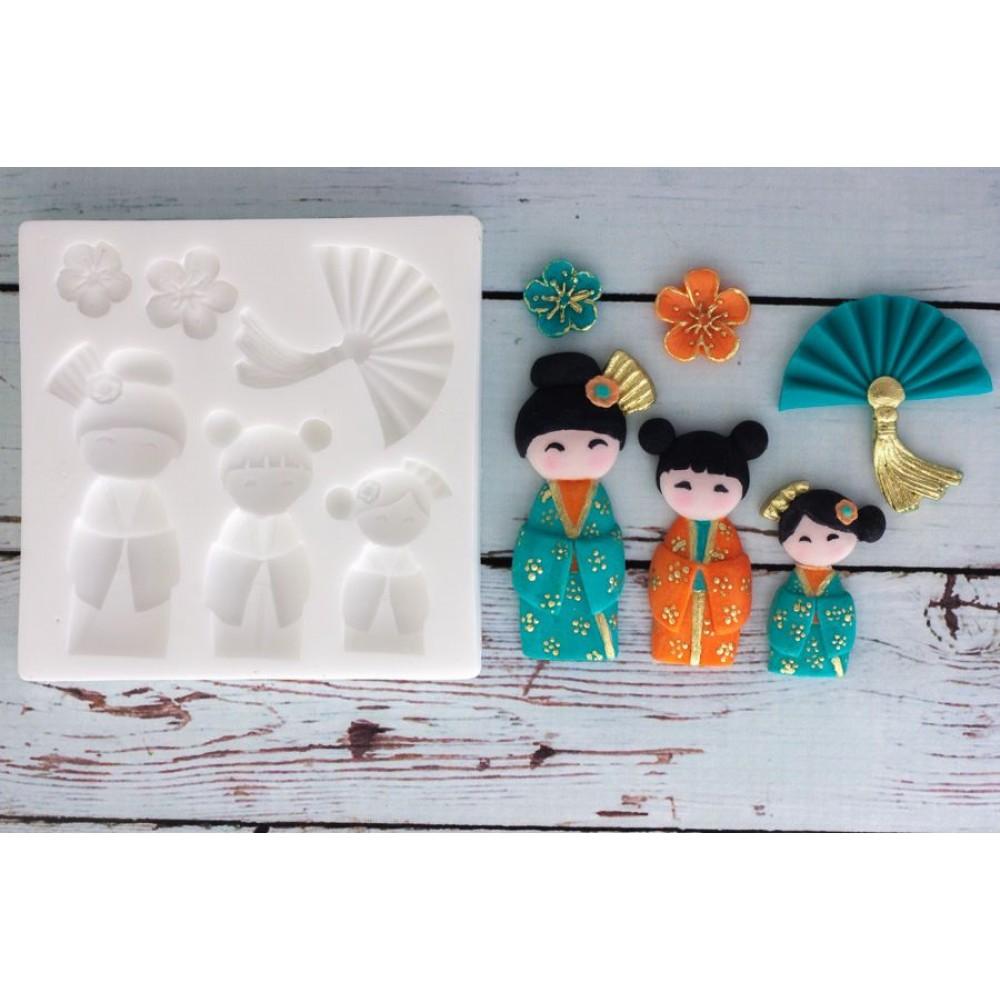 Molde De Silicone Japonesas Leque Oriental Para Decorar Cupcakes